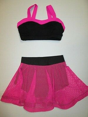 NEW Crop Top Skirt Size Large Child lot of 2 Black Pink Mesh Dance Jazz Costume