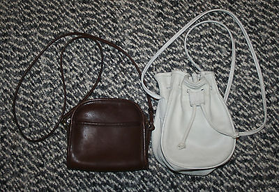 Lot of 2 Vintage Coach Small Leather Swing Bags: Drawstring Bucket & Abbie Bags