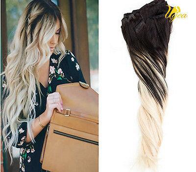 Balayage Brazilian Remy Clip in Human Hair Extensions Ombre Black 613# Full Head