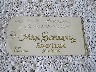 Hotel Luggage Tag Label Max Schling Savoy Place New York