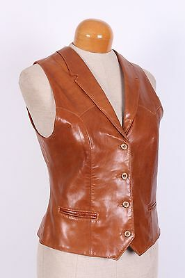 Vtg Remy Lambskin Leather Waist Coat Vest Usa Womens Size 12