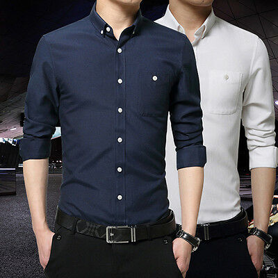 Luxury Men's Casual Shirts Business Dress T-shirt Long Sleeve Slim Fit Tops Tee