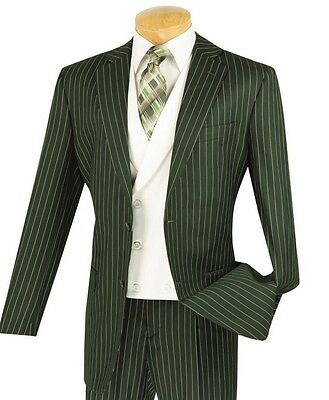 Men's Olive Green Gangster Stripe 3pc Classic Fit Suit w/ Fancy White Vest NEW