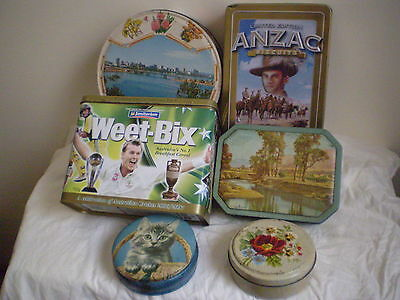 Collectable Advertising  Tins X 6 Vintage Australian Biscuit & Confectionery