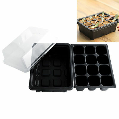 Useful 12 Cells Holes Plant Seeds Grow Box Tray Propagation Seeding Cloning Case