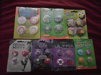 Collector Pins/badges Pks 4 Pins Per Pk Emo Tv Cartoon Shows 8 Varieties