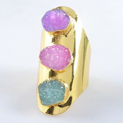 Size 6.5 Hot Pink & Blue Agate Druzy Geode Ring Gold Plated H87541