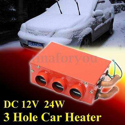 12V 24W 3 Hole Portable Car Vehicle Heating Cooling Heater Defroster Demister