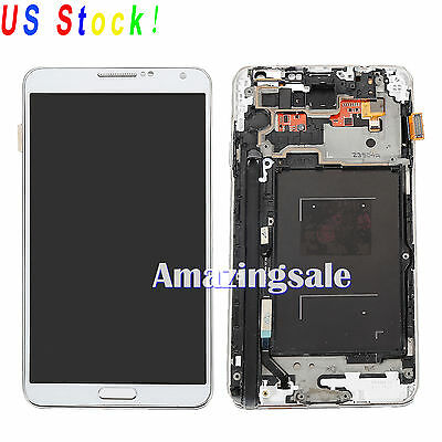 White LCD Screen Touch Digitizer Display+Frame For Samsung Galaxy Note3 N9005 US