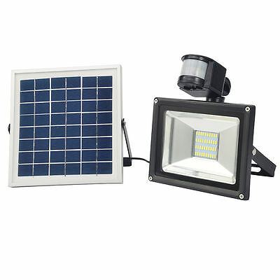 Solar Panel LED Floodlight 10W 20W PIR Motion Activiated Day white Security Lamp