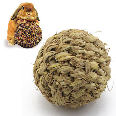 1pc Pet Chew Play Toy Grass Ball with Bell for Rabbit Hamster Guinea Pig Rat