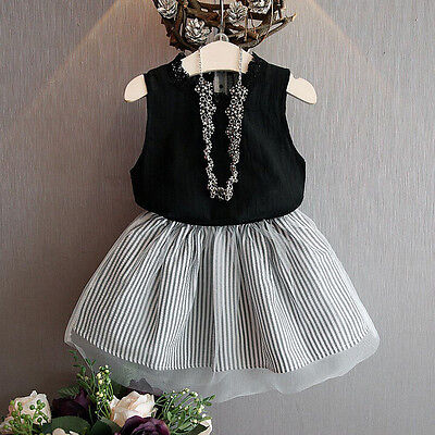 2PCS Kid Toddler Baby Girl Party Princess Dress Outfit Shirt Tops+Tutu Skirt Set