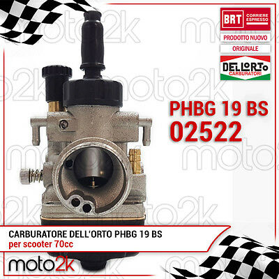02522 Carburatore Dell'orto Phbg 19 Bs Mbk Booster Ng Nitro Ovetto Aria Manuale