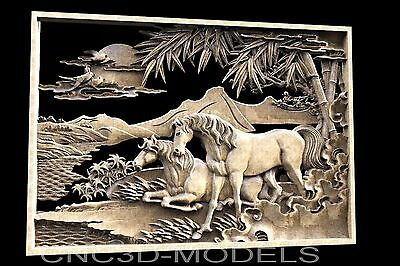 3D STL Models for CNC Router Engraver Carving Artcam Aspire Horse 1442