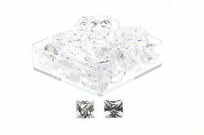 4.00 MM Square Princess Cut AAAA Grade White Cubic Zirconia's PACK OF 4