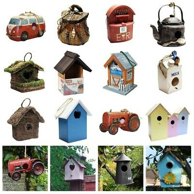 Traditional & Novelty Hanging Bird Nesting Nest Boxes House Small Garden Birds