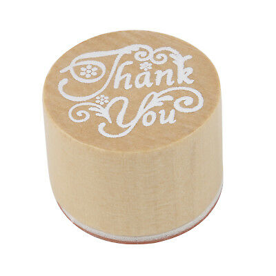 """TRIXES Craft Gift Letter Wooden Rubber Stamp Cursive Handwriting """"Thank You"""""""