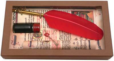 Coles Calligraphy Medieval Feather Quill and Ink Set - Red