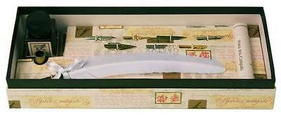 Coles Calligraphy Feather Quill with 7 Nibs and Booklet Ink Holder Set - White