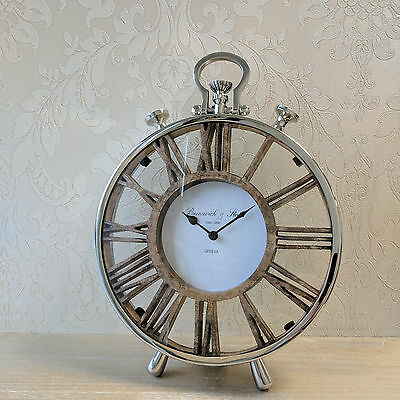 Round Mantle Clock Handle Table Wood Nickel Roman Numerals