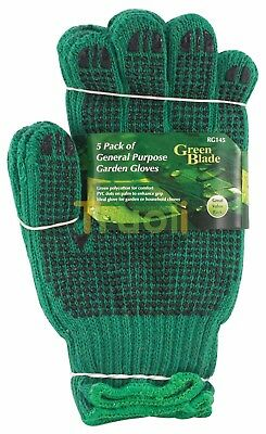 Pack of 5 General Purpose Polycotton Garden Gardening Work Gloves with PVC Grip