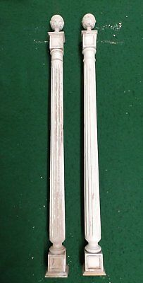 Antique Pair Decorative Turned Carved Columns Finials Old Vtg Victorian 4353-15