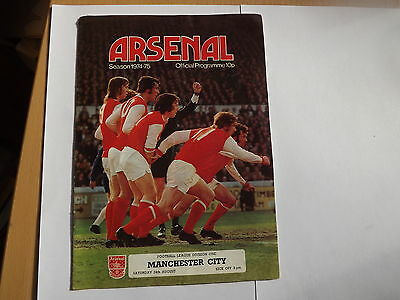 Programme ARSENAL v Manchester City 24.08.1974