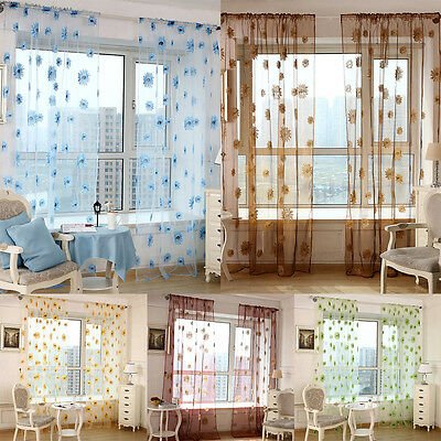 Floral Tulle Door Window Curtain Drape Divider Panel Voile Scarf Sheer Valances