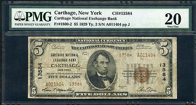 1929 Carthage Ny $5.00 T2  Ch #13584 Pmg 20  Nice Old Note  Please Lqqk !!!