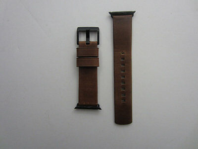 Nomad Leather Watch Strap for Apple Watch 38mm - Brown with Black Lugs - VG