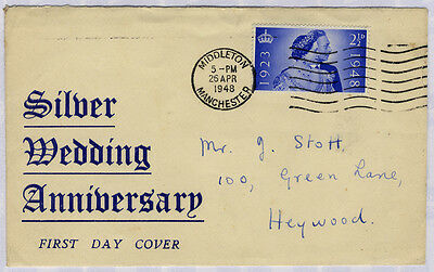 1948 Silver Wedding 2½d First Day Cover from Manchester to Heywood . . .