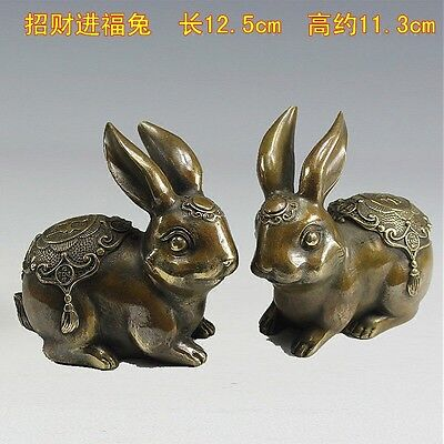 Chinese folk pure copper excellent lifelike statue of a pair of rabbits