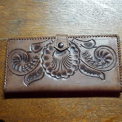 Vintage Tooled Leather Wallet/ Clutch~~Mexico~~ Love Old Leather