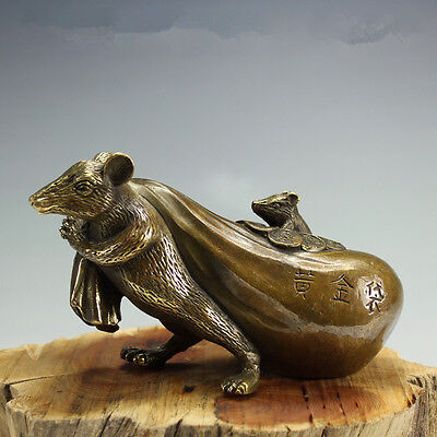 China Collectible Old Handwork Carving zodiac Pure copper Luck Mouse Statue