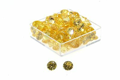 5.00 MM Round Brilliant Cut AAAA Grade Yellow Cubic Zirconia's PACK OF 4
