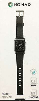 Nomad - Silicone Watch Strap for Apple Watch 42mm - Black with Silver Lugs - VG