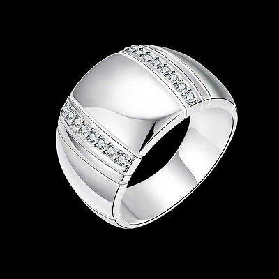 925Sterling Silver Jewelry Wide Smooth Man Ring Woman Ring Size 8 9 10 RB777