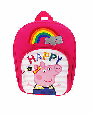 Peppa Pig Bee Happy Rainbow Arch Backpack With Pocket Fuchsia & White School Bag