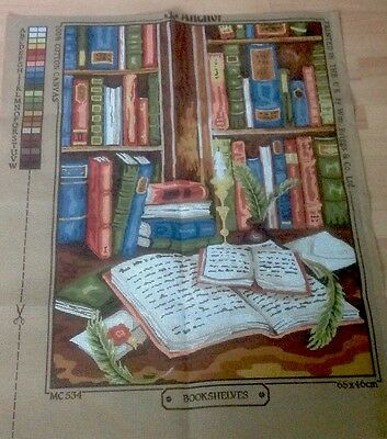 """ANCHOR TAPESTRY CANVAS ONLY - 65cm x 46cm - """" BOOKSHELVES"""" - UNUSED"""