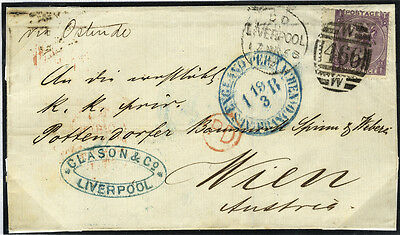 1868 cover from Liverpool to Vienna, Austria, 1868 6d deep lilac (SG.105) . . .