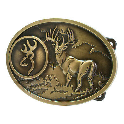 Bronze Buck Hunter Deer Hunting Belt Buckle Bow Western