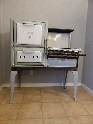 "Antique Porcelain Natural Gas Wehrle Company ""Dispatch"" Cook Stove & Oven Combo"