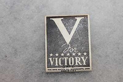 "Original WW2 U.S. Home Front ""V"" (For Victory) ""Buy War Bonds"" Match Pack, Full"