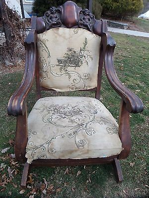 Antique Heavy Ornate Carved Rocking Chair/cherubs/unmarked!