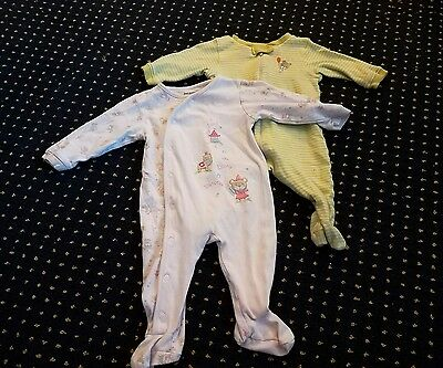 Lot of 2 First Moments Baby Girl Footed Sleeper Pajama Clothes 6 Months Bears