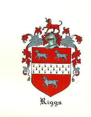 *Great Coat of Arms Riggs Family Crest genealogy, would look great framed!
