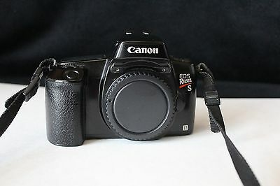 Canon Rebel S II 35mm SLR Camera Body Only EXCELLENT Hood Cap/Strap WORKING
