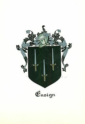*Great Coat of Arms Ensign Family Crest genealogy, would look great framed!