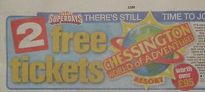 The Sun Chessington world of adventure Worth £95.  Booking Form /10 tokens.
