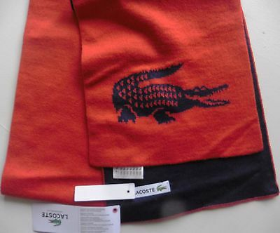 LACOSTE SCARF 100% wool large croc logo reversiblenavy red  NEW TAGs LONG